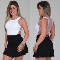 Vestido Godê Bicolor Tule Festa Sexy Balada Noite Panicat