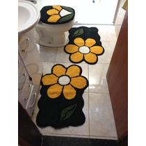 Jogo Tapete Decorado Banheiro 3 Peças Flor Amarela
