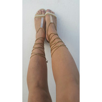 Sandália Cadarço Gladiadora Dourada Pérola Moda Marca Frago