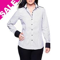 Camisa Feminina Blusa Xadrez Prata E Branca Manga Longa