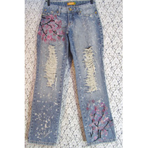 Calça Jeans Hippie 36 Destroyed Hand Painted Spplatered