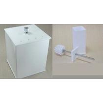 Lixeira + Escova Sanitária Em Acrílico Branca C/ Strass