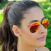 Óculos De Sol Estilo Aviador Feminino Espelhado + Case