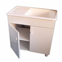 Mueble Lavadero + Pileta 75x45 Fibra Reforzada Mesada Mdf