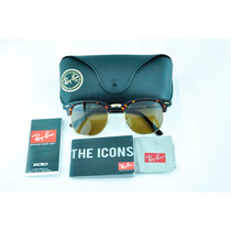 Lentes Ray Ban Clubmaster 3016 100% Originales Carey Marron