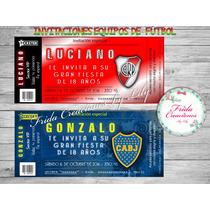 30 Invitaciones Ticketek 18x8cm Cumpleaños 15 18 Fútbol