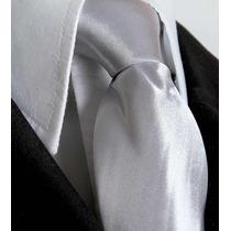 Gravata Prata Semi Brilho Ternos Formatura Padrinhos