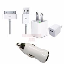 Kit 3 En 1 Ipod Iphone Cargador Casa + Carro + Cable Usb Hm4