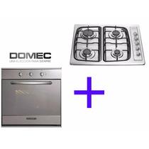 Combo Cocina Anafe + Horno Domec De Empotrar Multigas Acero