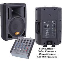Kit Caixa Ativa 10 Usb 300w + Caixa Passiva + Mesa 4 Canais