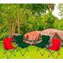 Silla Camping Plegable Con Apoya Vasos Y Funda De Transporte
