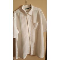 Camisa Cubavera Talla Xl Color Blanco Brillante