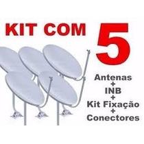 Kit 5 Antenas Banda Ku 60cm+ 05 Lnbf´s Simples