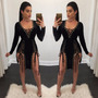 Vestido Negro Estilo Cordon Bandage Bodycon Long Sleeve Even