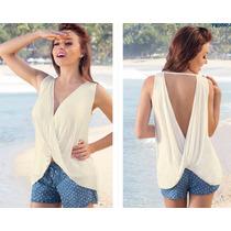 Blusa Blanca Con Escote Sexy Ala Moda 2016 Elegante-casual