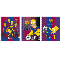 Combo Cadernos Espiral Os Simpsons Barcelona 1 Mat 96 Folhas