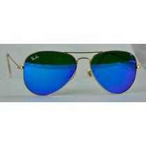 Lentes Ray-ban Aviator 3025 Tornasol Azul 100% Originales