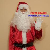 Roupa De Papai Noel Com Barba E Peruca Luxo Frete Grátis U5