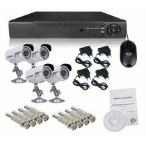 Kit Dvr 4 Canais Tempo Real H.264 + 4 Câmera Infra 36 Leds