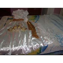 Vestido Blanco De Novia Con Todo Incluido Y Sandalias Dorada