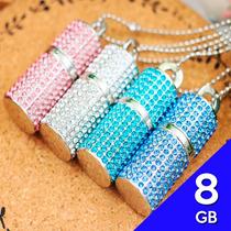 Memoria Usb 8gb Cilindro Collar Cristal Corazon Swarovski