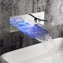 Llave Grifo Cascada Baño Con Luz Led A Muro Pared