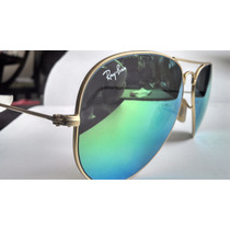 Ray Ban Aviator Flash Lens Tornasol Verde 100% Original