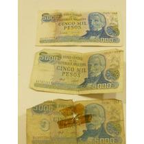 Billetes Antiguos $ 5.000 Argentinos Precio X Los 3
