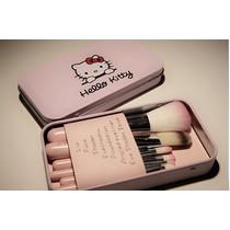 Kit De 7 Pinceis Hello Kitty - Importado - Pronta Entrega