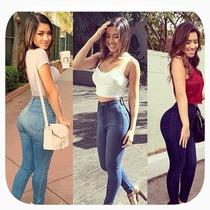 Jeans Corte Alto Stretch Marca Bonage Varios Tonos
