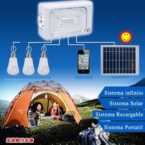 Reflector Led Con Panel Solar Recargable Portatil 3 Focos