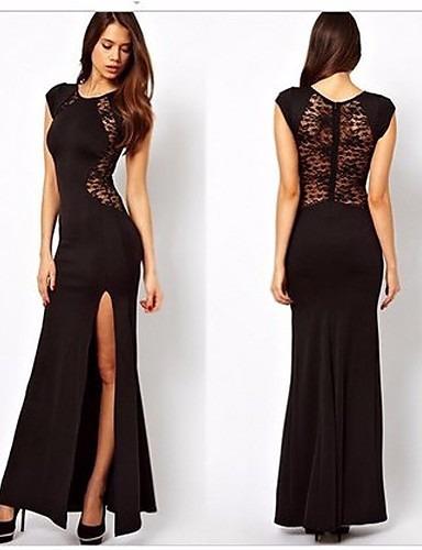 Vestido negro ajustado largo