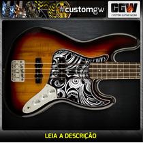 Escudo Jazz Bass Acrilico 2.5mm Transparente Adesivo Interno
