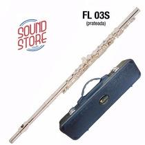 Flauta Eagle Transversal Prateada Fl03s Em Dó Com Case