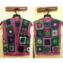 Chaleco Tejido Con Granny Square En Crochet, Hilo Vintage