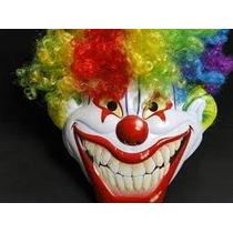 Mascara Plastica Palhaço Com Touca Colorida Festas Disfarce