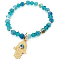 Pulsera Oro Laminado Bashari Blue Lucky Gold Filled Azul