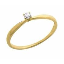 Anel Solitário De Ouro 18k 1 Diamante 5 Pontos