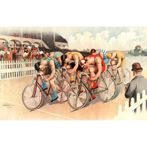 Lienzo Tela Poster Carrera De Bicicletas Eu 1895 50 X 79 Cm