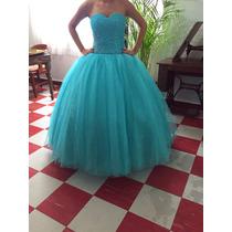 Vestido Xv Años Nuevo, Color Azul C/glitter, Tiene 2 Faldas