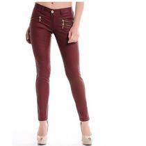 Calça Feminino Resinada Com Ziper Jeans Com Lycra E Elastano