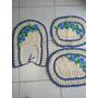 Tape Para Banheiro 3pcas Feito A Mão Em Crochê.