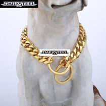 Collar Cadena Para Perro, Estilo Acero Dorado