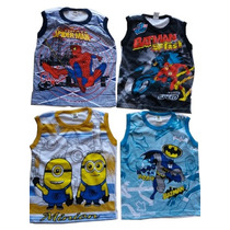 Camisa Regata Infantil Personagens Kit 10 Peças Por R$60,00