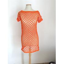 Vestido Verano Tejido Al Crochet Para Playa - Artesanal