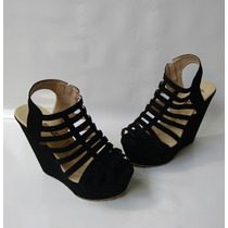 Sandalia Plataforma Alta Color Negro Para Mujer Envío Gratis