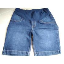 Shorts Meia Coxa Azul 38/40 (p/m) - Moda Gestante Due Vita