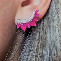 Brinco Feminino Ear Cuff Em Prata Zirconia Rubi