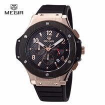 Reloj Lujo Moderno Megir Cronometro Fechador Envio Gratis