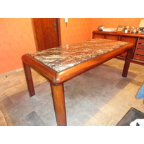 Mesa Colonial Em Mogno Maciço Com Tampo Em Granito